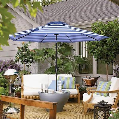 Maypex Striped Crank and Tilt 9-foot Market Umbrella