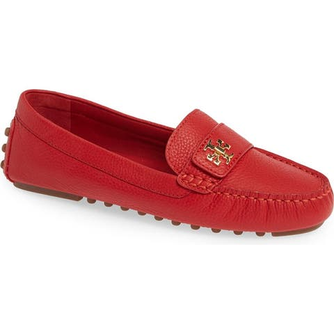 Tory Burch Kira Ruby Red Driving Leather Loafer