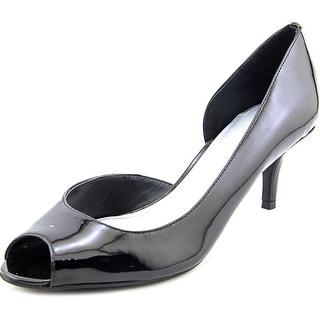 Tahari Jessie Women  Peep-Toe Patent Leather Black Heels