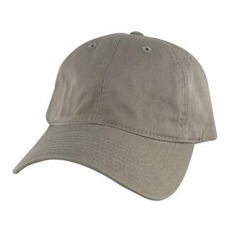 205 Series Unstructured Cotton Curve Visor Adjustable Strapback Dad Cap Hat - Khaki