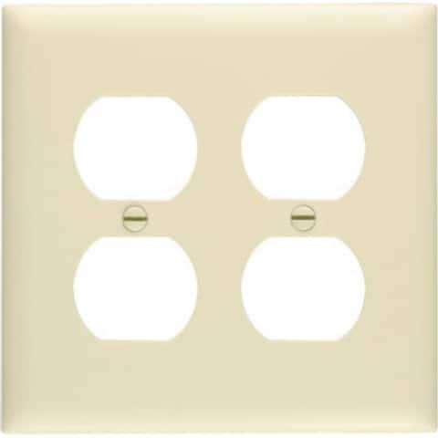 Pass & Seymour TradeMaster Duplex Wall Plate, 2 Gang, Ivory