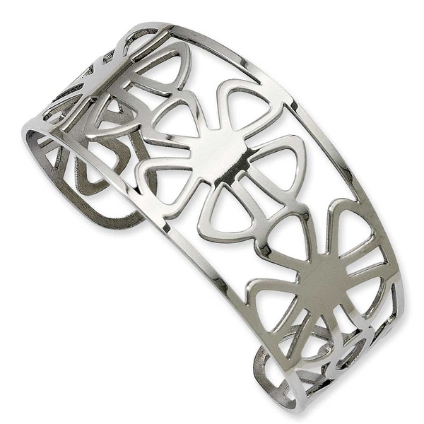 Stainless Steel Flower Cuff Bangle