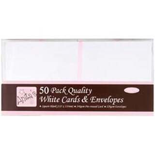 "White - Anita's Square Cards/Envelopes 5""X5"" 50/Pkg"
