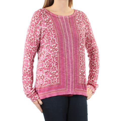 LUCKY BRAND Womens Purple Floral Long Sleeve Jewel Neck Top Size L
