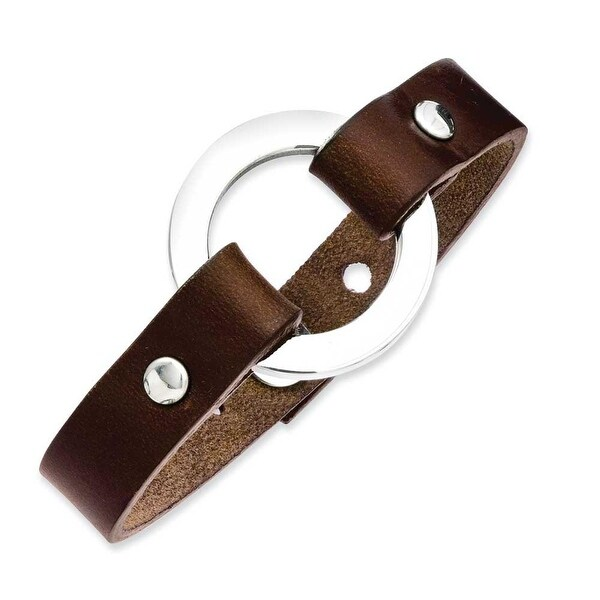 Stainless Steel Brown Leather 9in Bracelet