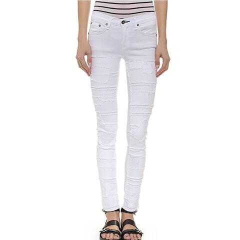 rag and bone Torn White Skinny Jeans 26