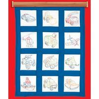 "Themed Stamped White Quilt Blocks 9""X9"" 12/Pkg-Toy Vehicles"