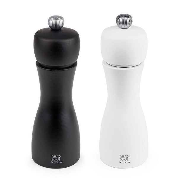 Peugeot 2/24260 Tahiti 6 Inch Black Pepper Mill and White Salt Mill Set - Black & White
