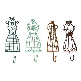 Colorful Metal Vintage Dress Form Decorative Wall Hook Set of 4 - 8 X 2.75 X 1.25 inches