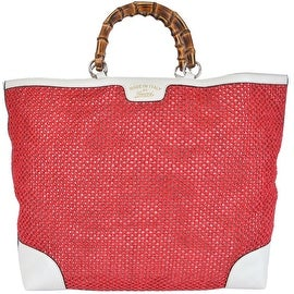 NEW Gucci 338964 Large Red Straw Leather Bamboo Handle Purse Tote Shopper