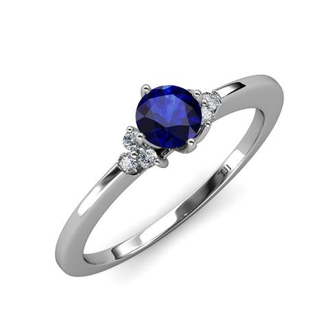 TriJewels Blue Sapphire Diamond 1 1/8 ctw Engagement Ring 14K Gold