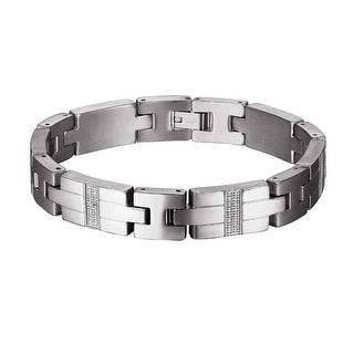 Stainless Steel Mens Bracelet I Link Silver Tone Lab Diamonds Custom Charm