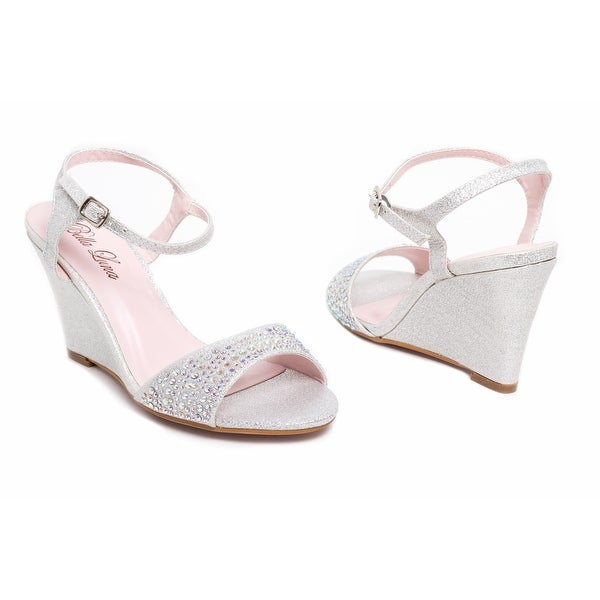 Embellished Open-Toe Ankle Strap Wedge