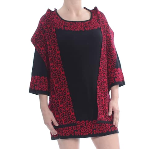 STYLE & CO Womens Red 3/4 Sleeve Mini Shift Evening Dress Petites Size: S