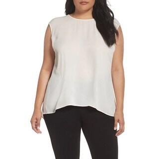 Sejour White Ivory Womens Size 14W Plus Pleat-Back Hi-Lo Blouse