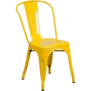 Brimmes Yellow Metal Indoor/Outdoor/Patio/Bar Stackable Chair w/Vertical Slat