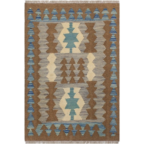 "Bauhaus Turkish Kilim Trang Hand-Woven Area Rug - 2'4"" x 2'11"""