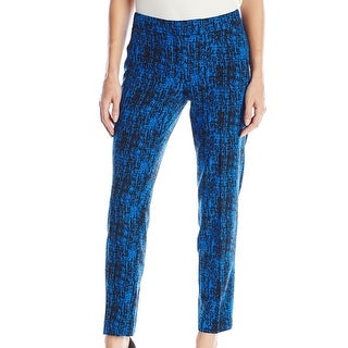 Anne Klein NEW Blue Women's Size 10 Slim Ankle Printed Casual Pants