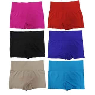 Women's 6-Pack Seamless Solid Color Pull-On High-Rise Slimming Shorts|https://ak1.ostkcdn.com/images/products/is/images/direct/dabc2f2d77de6ab28efb72d3920ff3a21801a371/Women%27s-6-Pack-Seamless-Solid-Color-Pull-On-High-Rise-Slimming-Shorts.jpg?impolicy=medium
