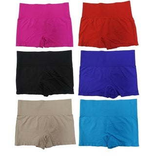Women's 6-Pack Seamless Solid Color Pull-On High-Rise Slimming Shorts