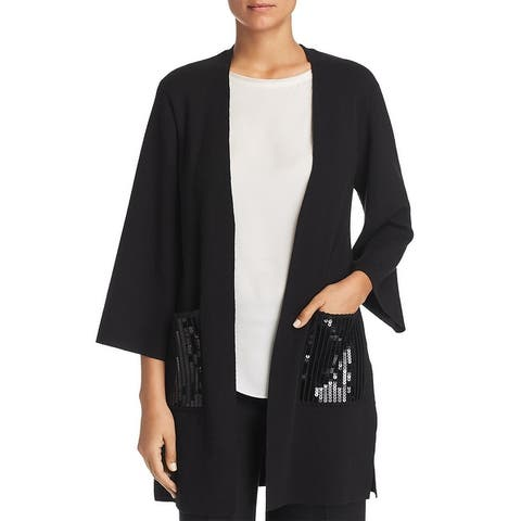 Le Gali Rona Women's Sequined Pocket 3/4 Sleeve Open Front Cardigan Sweater