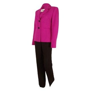 Le Suit Women's Glazed Melange Colorblocked Pantsuit - wild orchid/espresso