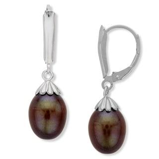 Honora 9-9.5MM Chocolate Freshwater Pearl Drop Earrings in Sterling Silver