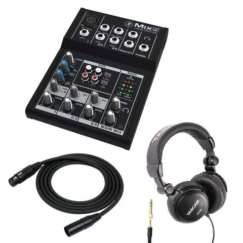 Mackie Mix5 5-Ch Compact Mixer with Full Size Headphones and XLR Cable