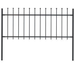 """Link to vidaXL Garden Fence with Spear Top Steel 66.9""""x31.5"""" Black Similar Items in Yard Care"""
