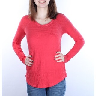 LUCKY $50 1291 Womens Red Tribal Scoop Neck Long Sleeve Top XS B+B