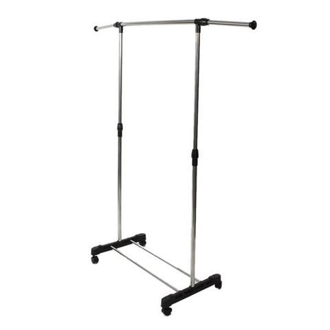 Single-bar Vertically-stretching Stand Clothes Rack with Shoe Shelf - 8' x 11'