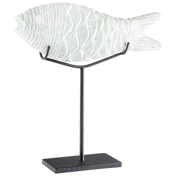 Cyan Design 10034 Grouper Glass and Iron Fish Statue - Frosted Ice