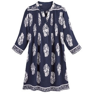 Women's Navy Medallions Tunic Top - 3/4 Sleeve Long Fit Blouse
