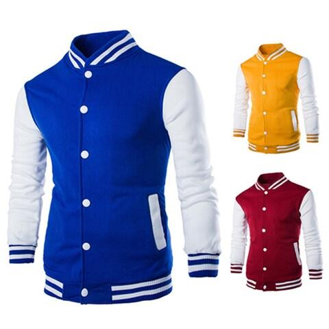 Men's Long Sleeve Jacket Slim Outwear Patchwork Sweatshirt Sport Baseball Coat