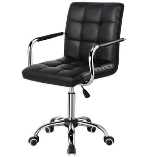 Link to Modern Mid-Back Black Faux Leather Office Chair with Removable Arms Similar Items in Ergonomic Chairs