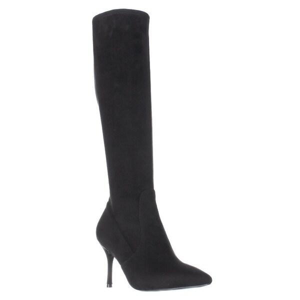 Nine West Calla Knee-High Heeled Fashion Dress Boots, Black