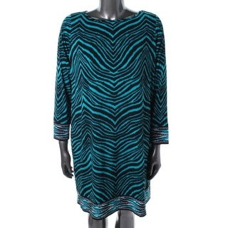 MICHAEL Michael Kors Womens Plus Matte Jersey Printed Wear to Work Dress - 1X