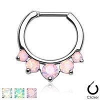 Five Pronged Opalites 316L Surgical Steel Septum Clicker Ring (Sold Indiv.)