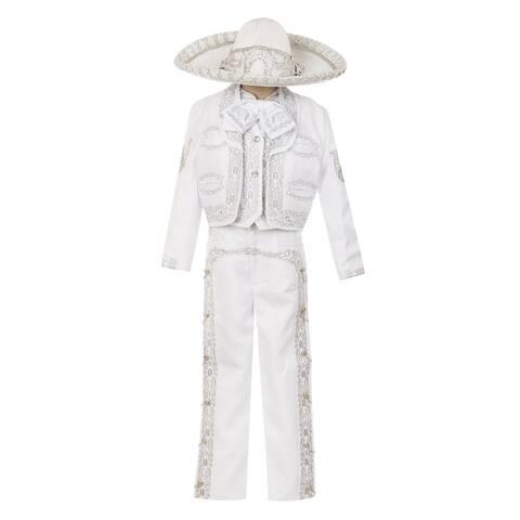 Rain Kids Boys White Horse Embroidery Elegant 6 Pc Charro Suit