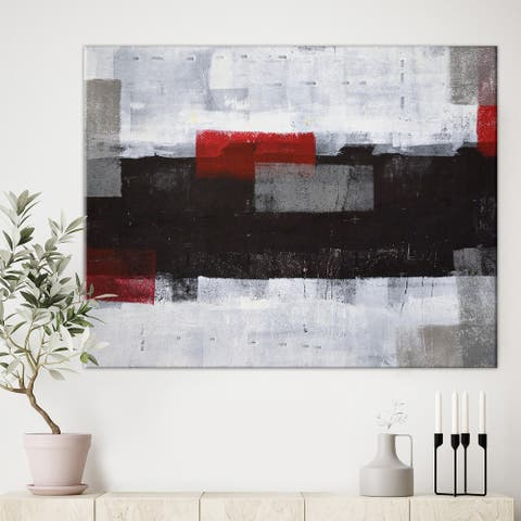 Designart 'Grey and Red Abstract Art ' Modern Canvas Wall Art