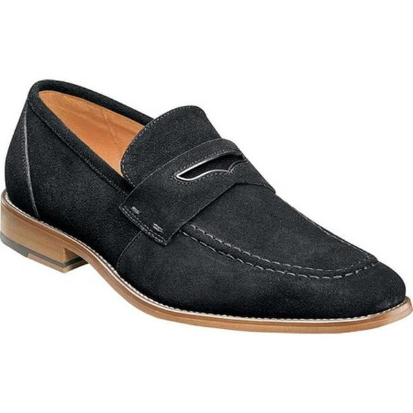 25eec631381 Shop Stacy Adams Men s Colfax Moc Toe Penny Loafer Black Suede - On Sale -  Free Shipping Today - Overstock.com - 22866175