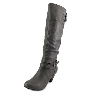 Rampage Edsel Pointed Toe Leather Knee High Boot