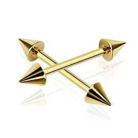 """Gold Plated Surgical Steel Spike End Barbell (Sold Individually) - 14 GA - 5/8"""" Long"""