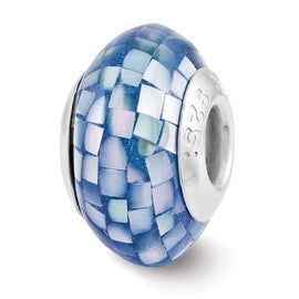 Sterling Silver Reflections Blue Mother of Pearl Mosaic Bead (4mm Diameter Hole)