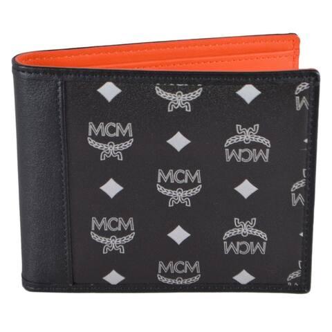 "MCM Men's Black Reflective Nylon Colorblock Visetos Logo Bifold Wallet - 4.5"" x 3.75"""