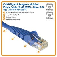Tripp Lite N201-005-Bl Cat6 Gigabit Snagless Molded Patch Cable (Rj45 M/M) Blue, 5Ft.
