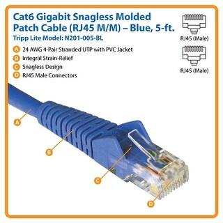 Tripp Lite N201-005-Bl Cat6 Gigabit Snagless Molded Patch Cable (Rj45 M/M) Blue, 5Ft.