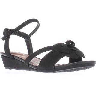 Clarks Parram Stella Low-Wedge Comfort Sandals, Black Leather