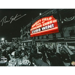 Theo Epstein Chicago Cubs Wrigley Field Marquee Cubs Win Spotlight 16x20 Photo