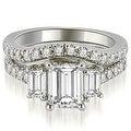 2.25 cttw. 14K White Gold Lucida Three-Stone Diamond Emerald Cut Bridal Set HI, SI1-2 - Thumbnail 0